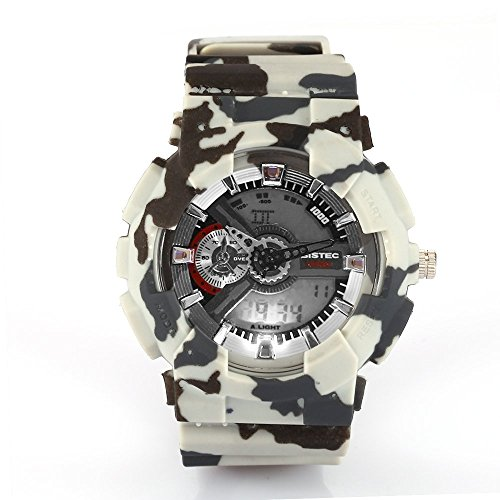 Bistec Unisex Militaer Uhren LED Digital Dual Time Camouflage Multifunktions Wasserdicht
