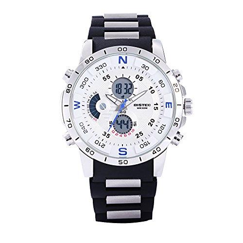Bistec Herren Dual Time phosphoreszierende Zeiger Quarz weiss Zifferblatt Multifunktional Wasserdicht Sport Digitale Armbanduhr