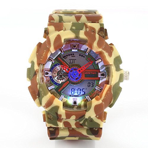 Bistec Unisex Sportuhr LED Dual Movement Time Camouflage Multifunktions