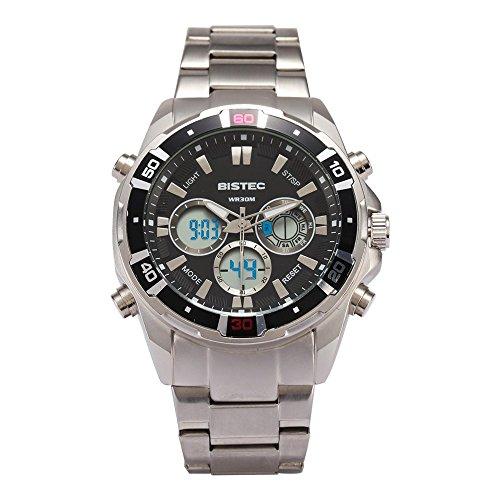 Bistec Herren Sport Stopuhr LED Digital Edelstahl Armbanduhr Wasserdicht