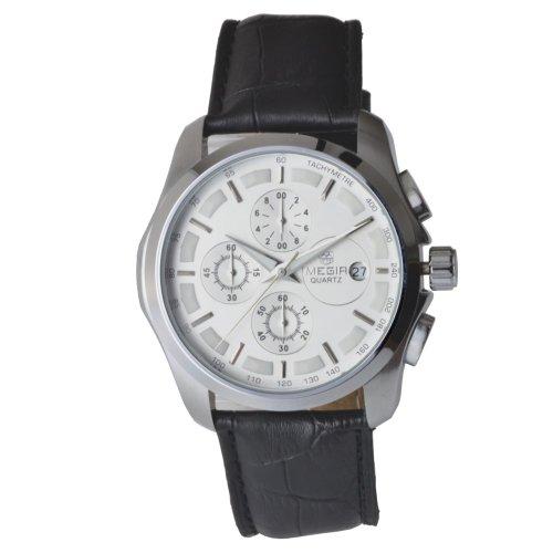 Megia Herren Chronograph Modellreihe W0314 11A1SSW Lederarmband Tachymeter 3ATM