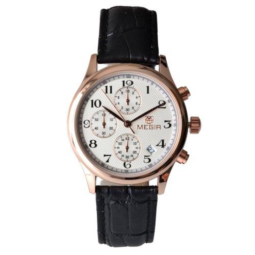 Megia Unisex Chronograph Modellreihe W0613 14A1Srg Lederarmband 3ATM