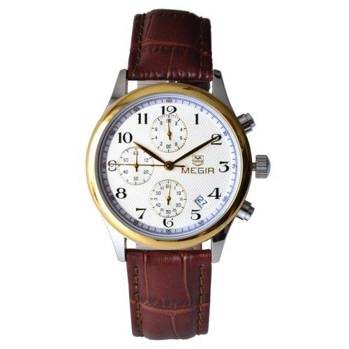 Megia Unisex Chronograph Modellreihe W0613 16A2BS Lederarmband 3ATM