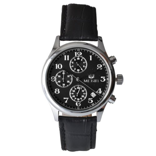 Megia Unisex Chronograph Modellreihe W0613 21A1SS Lederarmband 3ATM