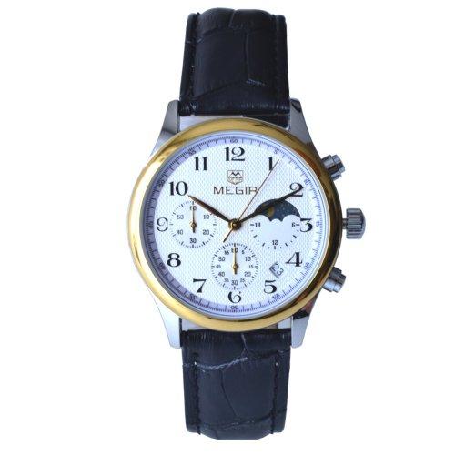 Megia Unisex Chronograph Modell W0613 16A1Srg 3ATM Lederarmband 24Std Chrono