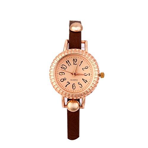 GSP Analog Strass Design Lederarmband Armkette Quarz Uhren Farbe Braun