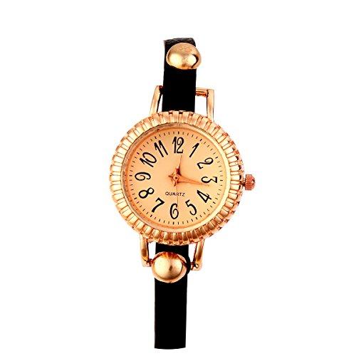 GSP Analog Strass Design Lederarmband Armkette Quarz Uhren Farbe Schwarz