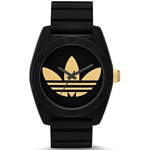 Adidas ADH2912 SANTIAGO Uhr Kautschuk Kunststoff 50m Analog schwarz gold