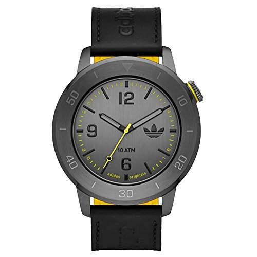 Adidas Herren 46mm Schwarz Leder Armband Mineral Glas Uhr adh3027
