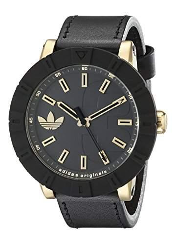 Adidas Herren-Armbanduhr 54mm Armband Leder Schwarz Gehaeuse Edelstahl Batterie Analog adh3041