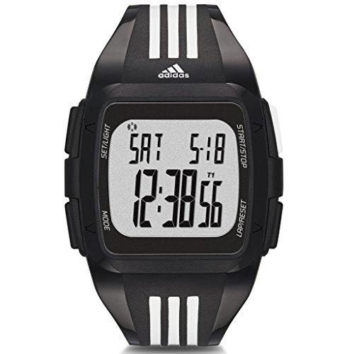 Adidas ADP6089 DURAMO Uhr Kunststoff Kunststoff 50m Digital Datum Licht Alarm Timer schwarz weiss