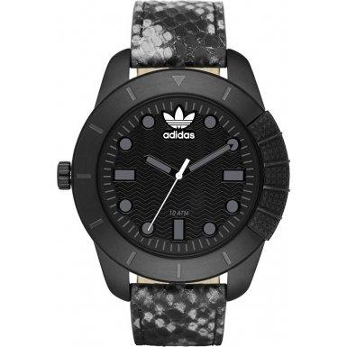 Adidas 48mm Armband Leder Multicolor Gehaeuse Edelstahl Quarz Zifferblatt Schwarz ADH3043