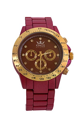 Kings Dunkel Rot Metall Armband Gold Dial Analog Quarz Uhrwerk