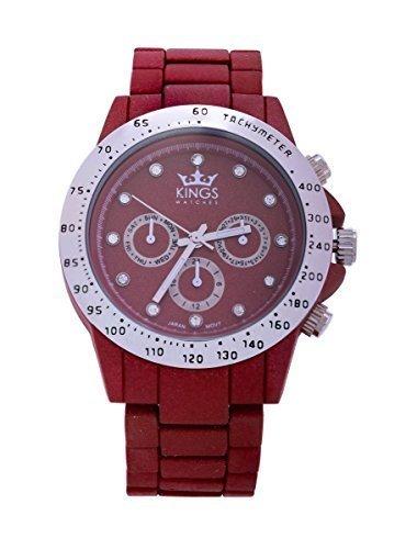 Kings Damenuhr Dunkel Rot Metall Armband Silber Dial Analog Quarz Uhrwerk