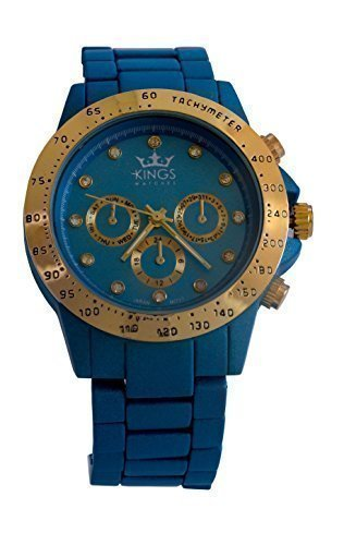 Kings Blau Metall Armband Gold Dial Analog Quarz Uhrwerk