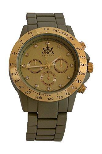 Kings Damenuhr Militaerische Gruen Metall Armband Gold Dial Analog Quarz Uhrwerk