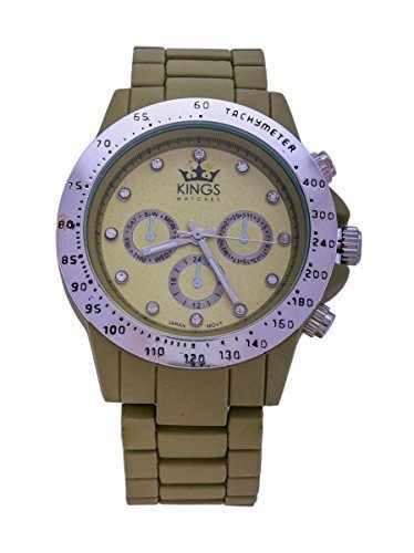 Kings Militaerische Gruen Metall Armband Silber Dial Analog Quarz Uhrwerk