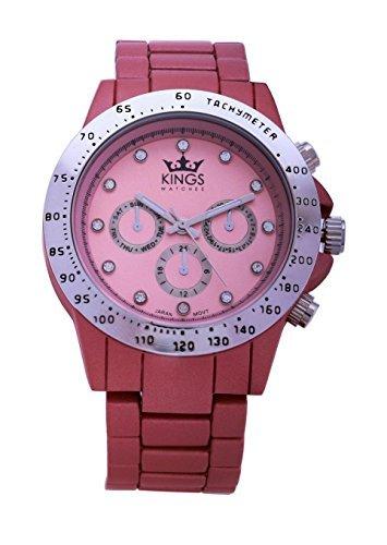 Kings Damenuhr Tee Rosa Metall Armband Silber Dial Analog Quarz Uhrwerk