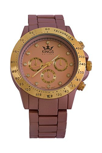 Kings Tee Rosa Metall Armband Gold Dial Analog Quarz Uhrwerk
