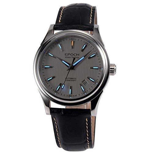 Epoch 6029G Tritium Automatische Herren Armbanduhr mechanisch Gasblau Lederband weisses Saphir Zifferblatt spiegelnd
