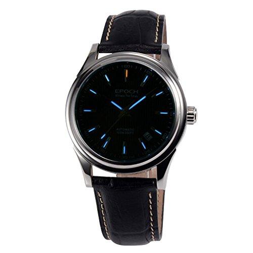 Epoch 6029 G Tritium Gas blau Luminous Lederband Saphir Spiegel Herren Business Automatische Mechanische Armbanduhr Schwarz Zifferblatt