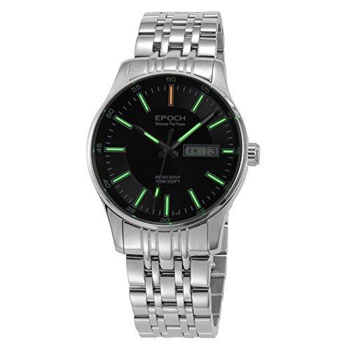 Epoch 6021G Herren Armbanduhr mit Quarzuhrwerk wasserdicht bis 100 m schwarzes Zifferblatt gruen leuchtende Zeiger mit Tritium Gaslichtquelle