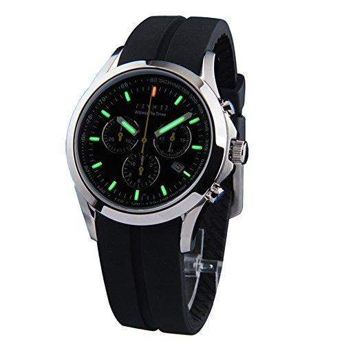 Epoch 6022G Herren Armbanduhr 100 m wasserdicht Tritiumgas gruen leuchtend drei Fenster Silikon Armband Sport Chronograph Quarzuhr