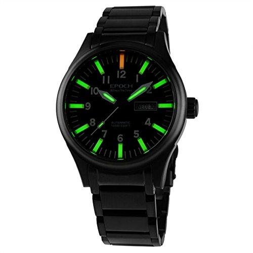 Epoch 7016 G Lederband wasserdicht 100 m Tritium Gas 3 Farben leuchtend Schwarz Fall Herren Business Mechanische Uhr