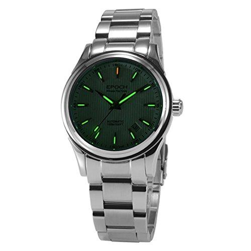 Epoch 6029 G Tritium gruen leuchtende Stahl weiss Zifferblatt Saphir Spiegel Herren Business Automatische Mechanische Uhr