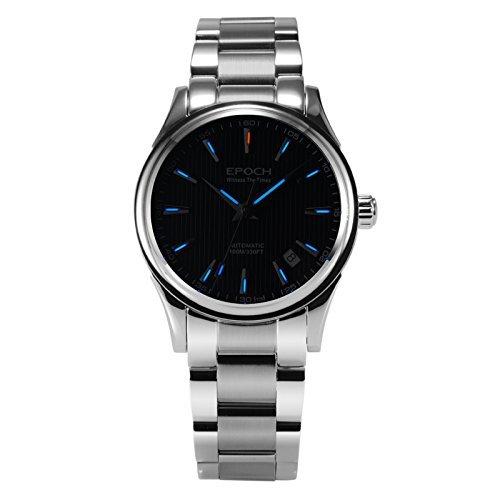 Epoch 6029 G Tritium Gas blau Luminous Stahl schwarz Zifferblatt Saphir Spiegel Herren Business Automatische Mechanische Uhr