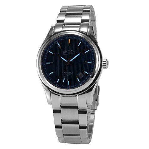 Epoch 6029 G Tritium Gas blau Luminous Stahl Blau Zifferblatt Saphir Spiegel Herren Business Automatische Mechanische Uhr