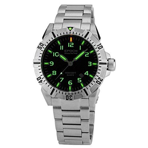 Epoch 6020 G A Style Stahl wasserdicht 100 m Tritium Gas Roehren Luminous Sport Tauchen Armbanduhr Quarz