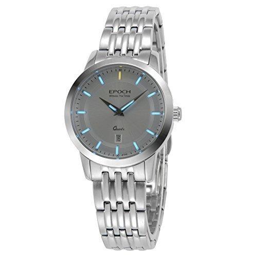 Epoch 6023L Armbanduhr fuer Damen wasserdicht bis 50 m Tritiumgas blau leuchtend Stahlarmband weisses Zifferblatt