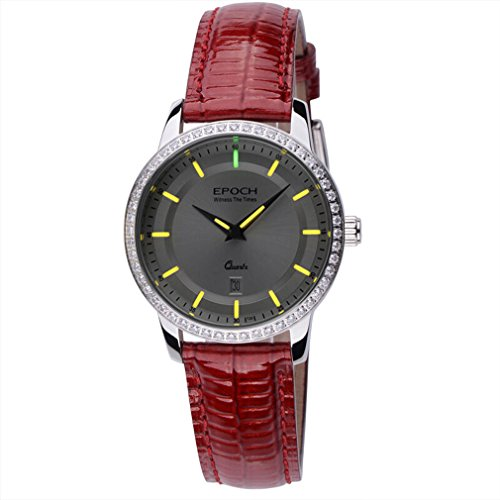 Epoch 6023L Wasserdicht 50 M Tritium gelb Luminous Lederband weiss Zifferblatt Vogue Business Lady Frauen Quarzuhr Armbanduhr