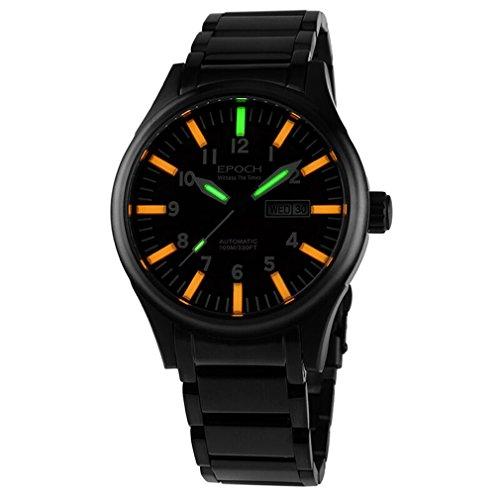Epoch 7016 G STAHL Wasserdicht 100 m Tritium Gas 3 Farben leuchtend Schwarz Stahl Herren Business Mechanische Uhr
