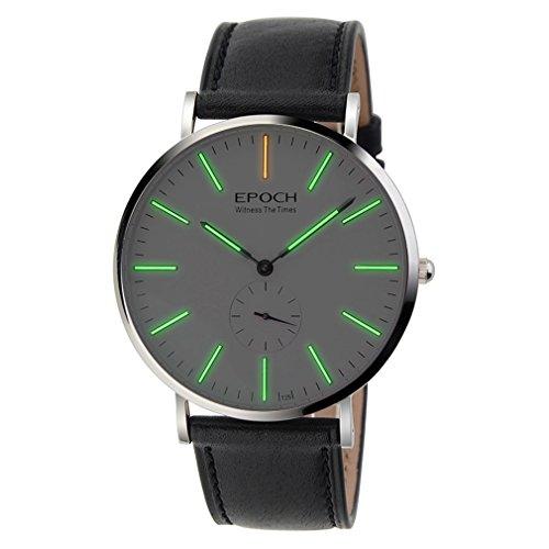 Epoch 6025 G 50 m Wasserdicht Tritium gruen leuchtende Ultrathin Case Schutzhuelle Business Herren Quarzuhr Armbanduhr