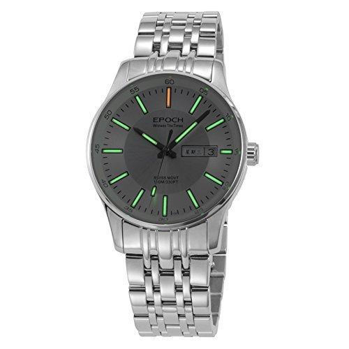 Epoch 6021 G Wasserdicht 100 m Tritium Gas Gruen leuchtende Weiss Zifferblatt Stahl Fashion Business Herren Quarz Armbanduhr