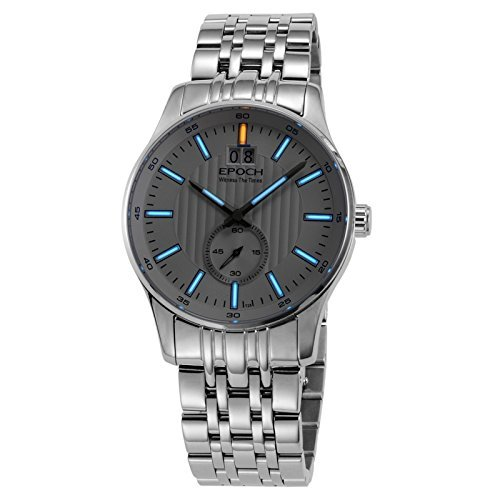 Epoch 6021 GN Wasserdicht 100 m Tritium Gas blau leuchtendes Stahl weiss Zifferblatt Big Kalender Display Fashion Business Herren Quarz