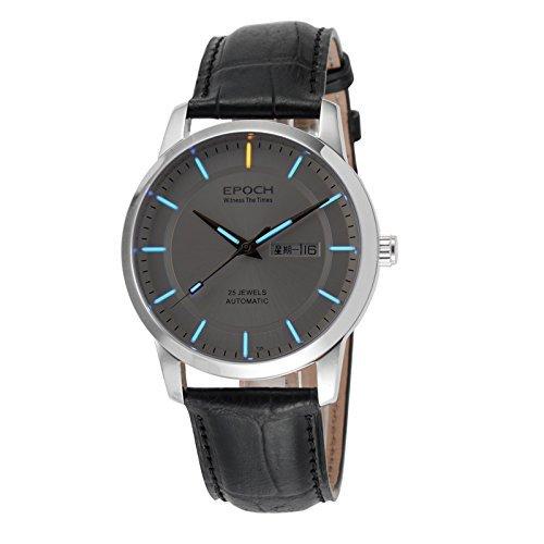 Epoch 6023 GN Wasserdicht 100 m Tritium Gas blau leuchtendes Lederband weiss Zifferblatt Herren Business Mechanische Uhr Armbanduhr