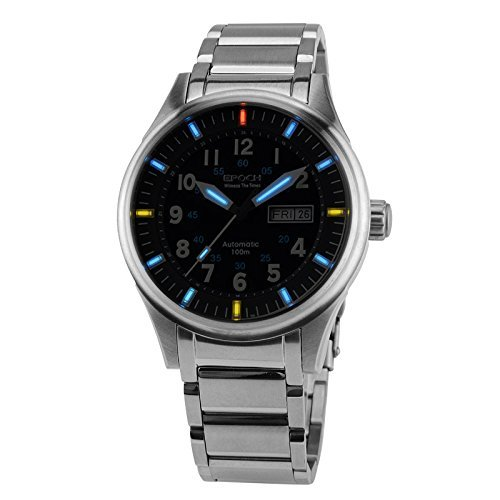 Epoch 7009 G Wasserdicht 100 m Tritium Gas blau Luminous Stahl Herren Business Automatische Mechanische Uhr