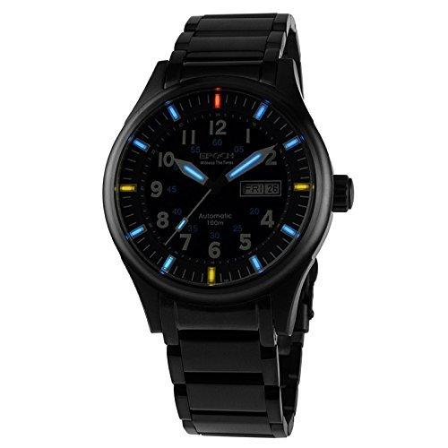Epoch 7009 G Wasserdicht 100 m Tritium Gas blau Luminous Stahl schwarz Fall Herren Business Automatische Mechanische Uhr