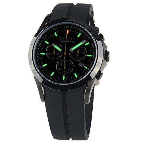 Epoch 6022 G Wasserdicht 100 m Tritium Gas Gruen Luminous Triple Fenster Silikon Rubber Strap Schwarz Fall Sport Chronograph Herren Quarz Armbanduhr