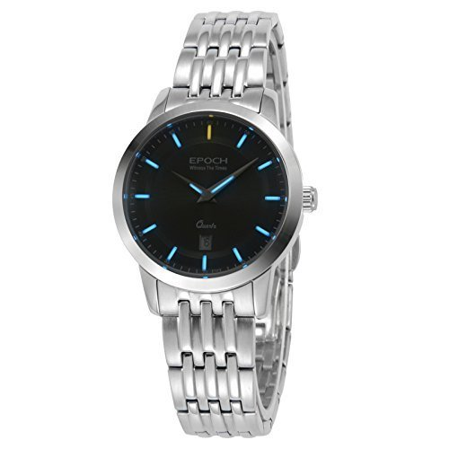 Epoch 6023L Wasserdicht 50 M Tritium Gas blau Luminous Stahl schwarz Zifferblatt Vogue Business Lady Frauen Quarzuhr Armbanduhr