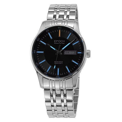 Epoch 6021 G Wasserdicht 100 m Tritium Gas blau Luminous Schwarz Zifferblatt Stahl Fashion Business Herren Quarz Armbanduhr