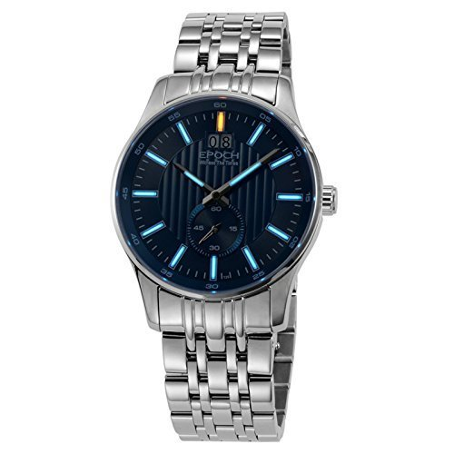 Epoch 6021 GN Wasserdicht 100 m Tritium Gas blau Luminous Stahl Blau Zifferblatt Big Kalender Display Fashion Business Herren Quarz