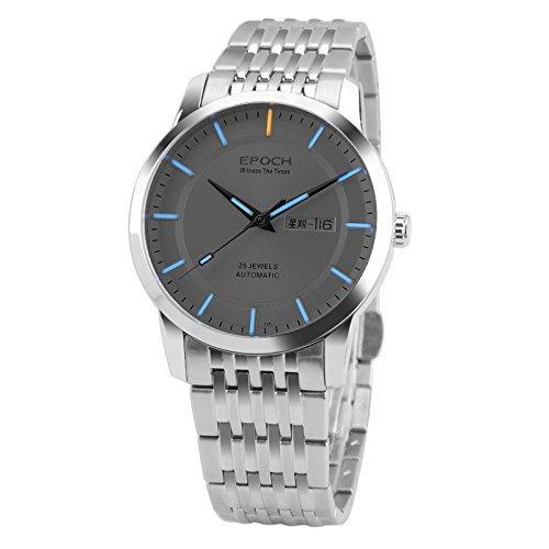Epoch 6023GN Armbanduhr Wasserdicht bis 100 m Tritium Gas blau leuchtender Stahl weisses Zifferblatt Herren Businessuhr Mechanische Uhr Armbanduhr