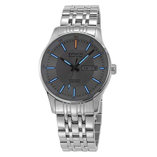 Epoch 6021G Armbanduhr Wasserdicht bis 100 m Tritium Gas blau beleuchtet weisses Zifferblatt weisser Stahl Business Herren Quarzuhr