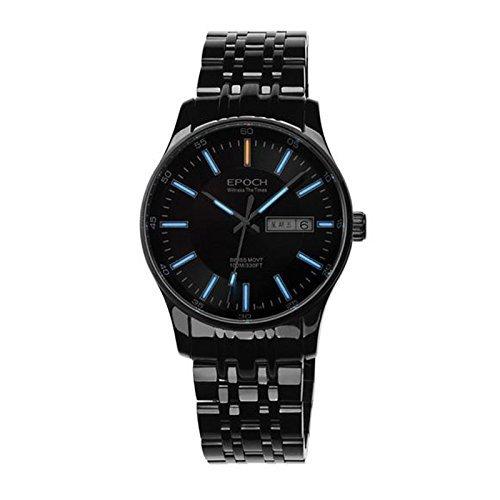 Epoch 6021G Armbanduhr Wasserdicht bis 100 m Tritium Gas blau beleuchtet Schwarzes Zifferblatt Schwarzer Stahl Business Herren Quarzuhr
