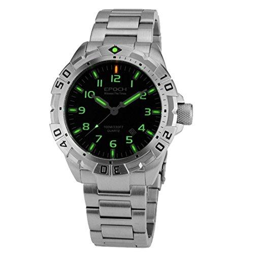 Epoch 6020 G B Stil Stahl wasserdicht 100 m Tritium Gas Roehren Luminous Sport Tauchen Armbanduhr Quarz