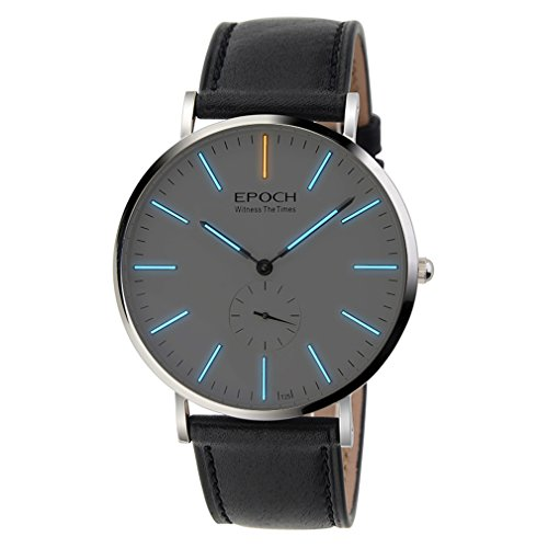 Epoch 6025 G 50 m Wasserdicht Tritium blau Luminous Ultrathin Case Schutzhuelle Business Herren Quarzuhr Armbanduhr